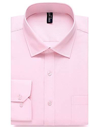 - Alimens & Gentle Design Solid Color Regular Fit Long Sleeve Dress Shirts Pink