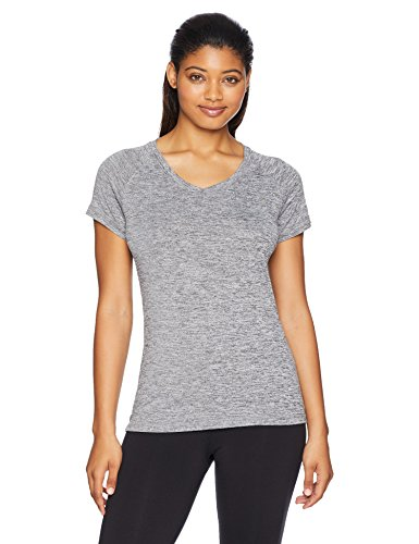- Danskin Women's Plus Size Heather Active V-Neck T-Shirt, Black, 1X