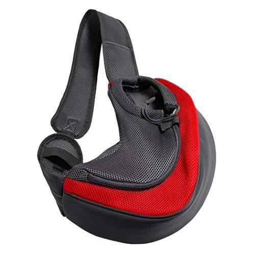BreTT1QIN9 Pet Puppy Dog Carrier Outdoor Travel Single Shoulder Bag Mesh Pouch Handbag - Red L