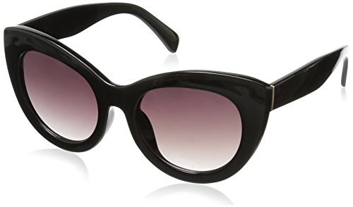 Foster Grant Women's Jet Set 2 Cateye Sunglasses, Black, 52.5 - Black Glasses Chunky