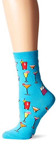Hot Sox Women's Originals Classics Novelty Crew Socks, Tropical Drinks (Turquoise), Shoe Size: 4-10 ()