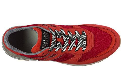 Hogan Rebel Mens Shoes Sneakers In Pelle Da Ginnastica R261 Rosso