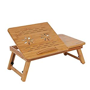 Bamboo Foldable Laptop Bed Cooling Holder Desk Multi Function Table Stand