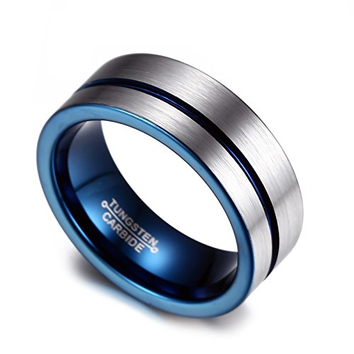8mm mens blue tungsten wedding band ring comfort fit flat domed brushedamazoncom