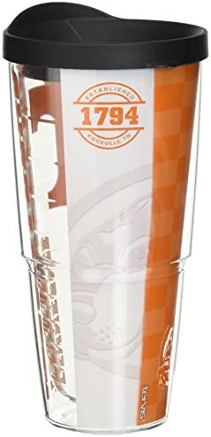 Tervis 1214832 Tennessee Volunteers College Pride Tumbler with Wrap and Black Lid 24oz Clear