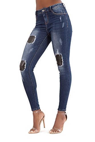 Blue Ripped LustyChic para Jeans Dark mujer Vaqueros Faded qqIAFp