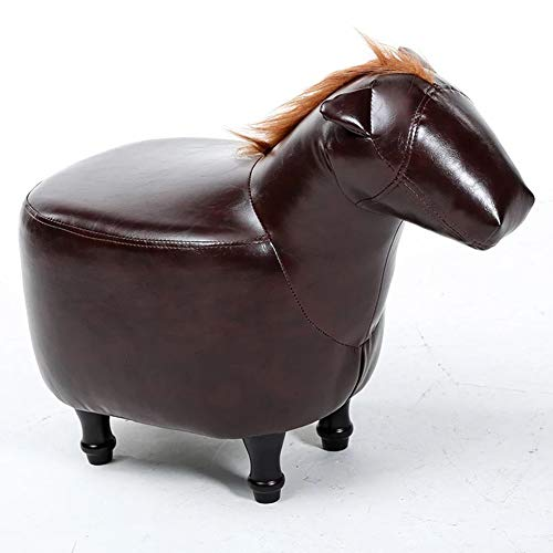 (ENCOUNTER-G Imitation Leather Childrens Chair/Childrens Wooden Chair with Animal Pattern Horse/Children's Dining Chair/Foyer for Shoes Bench/Nursery Small Stool/Garden Furniture / 37 cm Seat)