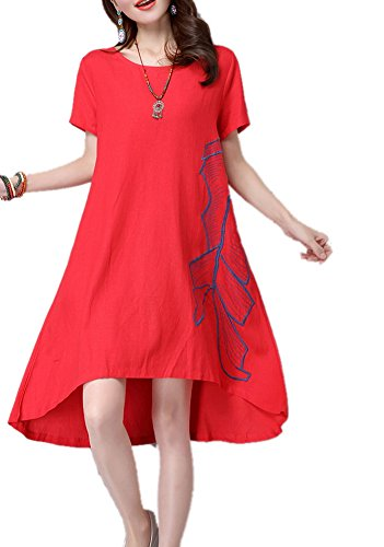 Women's Short Sleeve Floral Embroidery Folk Style Linen Dress Red XXL