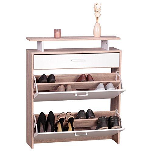 FineBuy Schuhschrank MDF Sonoma Eiche 80 cm breit Schuhregal Design Schuh-Kommode modern Sideboard stylisch Schuhablage schmal Flurmöbel platzsparend rechteckig Schuhkipper zweifarbig geschlossen