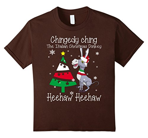 Kids Dominick The Christmas Donkey - Italian Christmas Donkey Tee 12 - Brown Dominick