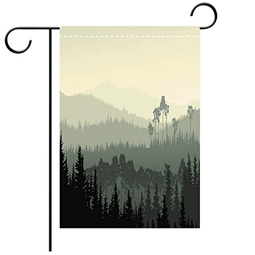 Custom Personalized Garden flag Outdoor flag Apartment Decor The Panorama of a Valley and a Mystic Forest of Pine Trees Egg Shell and Decorative Deck, patio, Porch, Balcony Backyard, Garden or Lawn