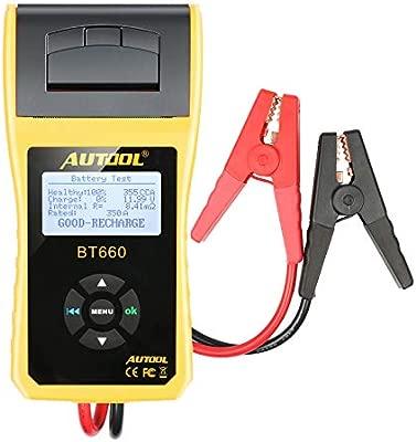 AUTOOL Analizador del probador de la batería del coche 12V / 24V con la impresora para CCA 100-3000 frío inundado que arranca amperios Auto de la ...