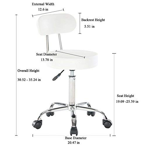 Artechworks Adjustable Rolling Swivel Stool for Salon Spa Massage Tattoo Facial Medical Chairs with Wheels and Metal Plate Frame, White Color