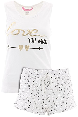 Love Loungewear Juniors Love You More White Shorty Valentines Pajamas M