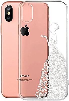 IJIA Funda para Apple iPhone X Transparente Princesa Muchacha ...