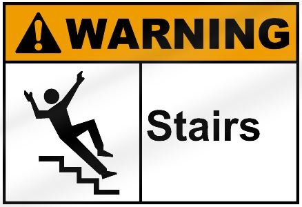 Merveilleux Warning Stairs Sign