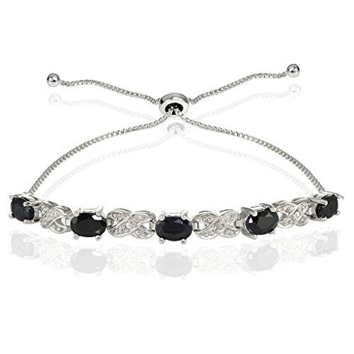 Ice Gems Sterling Silver Genuine Sapphire Infinity Adjustable ()