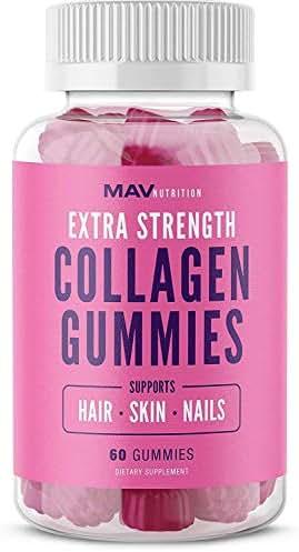 MAV Nutrition Collagen Hair Vitamins Gummy for Men & Women with Vitamin C, Zinc Supplement & Biotin; Non-GMO, 60 Count