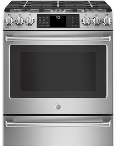 Slide Convection In Range Pro (GE Cafe CGS986SELSS 30 Inch Slide-in Gas Range with Sealed Burner Cooktop, 5.6 cu. ft. Primary Oven Capacity in Stainless Steel)