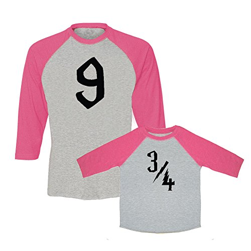 We Match! Platform 9 & 3/4 Matching Adult Baseball T-Shirt & Child T-Shirt Set (5/6T T-Shirt, Adult T-Shirt Medium, Hot Pink) ()