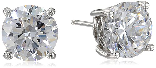 Platinum Plated Sterling Silver Stud Earrings set with Round Cut Swarovski Zirconia (5 ()