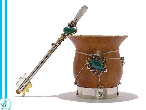 Unique! Alpaca Mate Gourd Cup (German Silver) with Malachite Gemstone with Alpaca Bombilla (Straw) - From Argentina