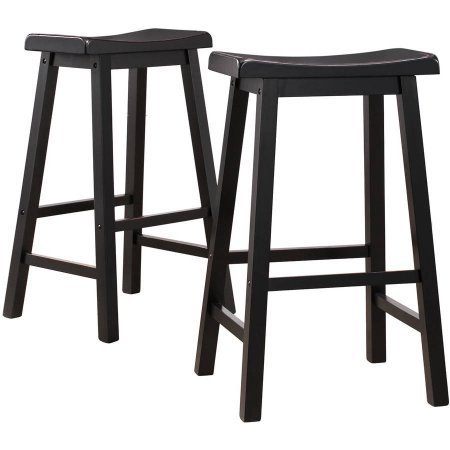 Ashby Bar Stools 29', Set of 2, Black Rubbed