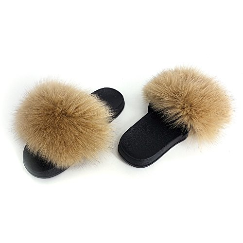 Manka Vesa Women Winter Real Fox Fur Feather Vegan Leather Open Toe Single Strap Slip On Sandals Brown