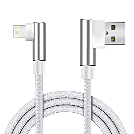 Boost+ Charging Cable 10FT/3M Nylon Braided Extra-Long Travel Cable Fast Charger USB Data Cord, Right Angle, Upgraded, Silver