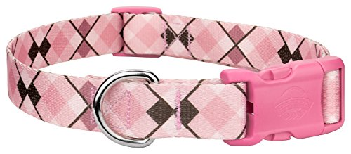 Country Brook Petz | Pink and Brown Argyle Deluxe Dog Collar with Pink Buckle-M