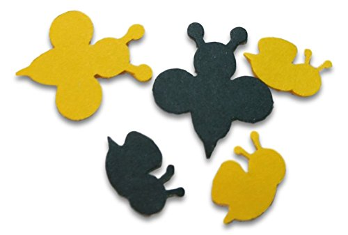 "Custom & Fancy {.5'' - 1'' Inch} Approx 100 Pieces of Large ""Table"" Party Confetti Made of Premium Card Stock w/ Cute Bumble Bee Bug Shape Baby Shower Gender Neutral Design [Black & Yellow] by mySimple Products"