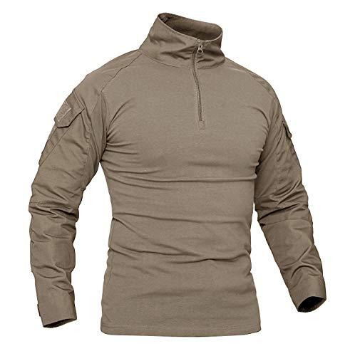 KEFITEVD Chemise de Combat Homme Chemise Camouflage Militaire Tactique T-Shirt Slim Fit Chemise à Manches Longues 1