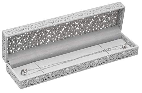 - Hollow Gray Pearl Necklace Box Jewelry Packaging Gift Box Showcase Display