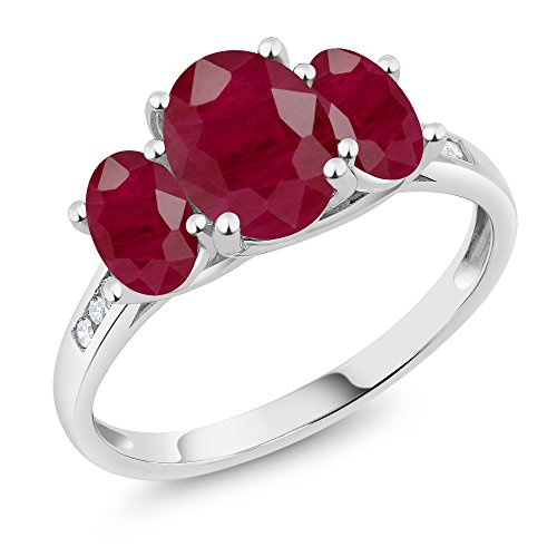 Aaa Diamond 3 Stone Ring - 10K White Gold Diamond Accent Oval Red Ruby 3-Stone Ring 2.80 Ct (Size 5)