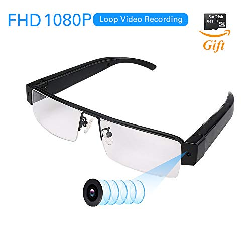 FHD 1080P Wearable Camera with Video Recording Mini Spy Camera Sunglasses, Mini DVR Camcorder Loop Recorder Take Pics/Snapshorts Micro SD Card Included