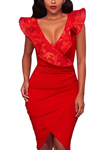 Podlily Women Elegant Solid Ruffle V Neck Sleeveless Wrap Bodycon Midi Dress