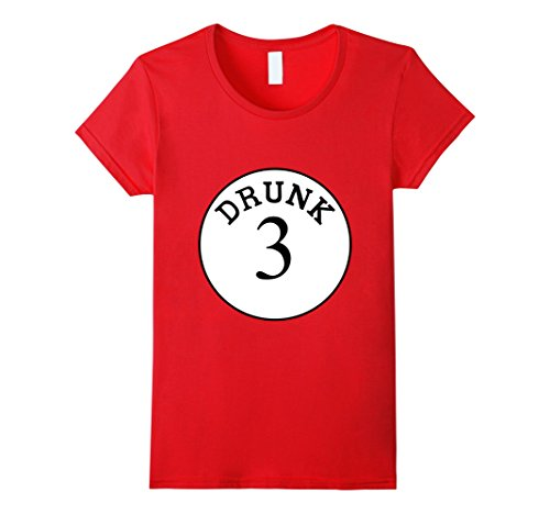 Group Of Three Halloween Costumes (Womens Funny Group Halloween Costume Unisex Drunk 3 Shirt XL Red)