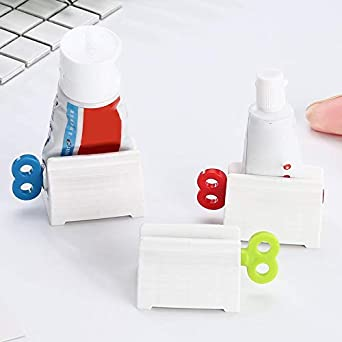 MAyouth Rolling Tube Toothpaste Squeezer Toothpaste Seat Holder Stand Rotate Toothpaste Dispenser For Bathroom