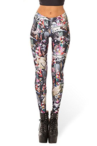 Lady Queen Women's Nightmare Before Christmas Stretch Skinny Leggings Pants M -