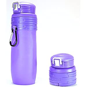 Minch Collapsible Silicone Water Bottles-17oz Leak Proof BPA Free-For Any Outdoor or Sports Activities (Navy Blue)