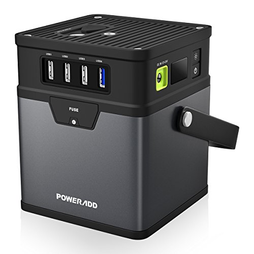 Poweradd ChargerCenter, Compact 185Wh/50000mAh Portable Generator, Power Source (DC 5V/12V/19V) with AC Power Inverter (115V/100W) for Smartphone, iPad, Tablet, Laptop, Fan, Mini Fridge and More