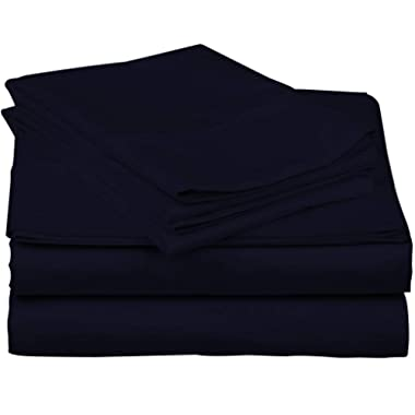 True Luxury 1000-Thread-Count 100% Egyptian Cotton Bed Sheets, 4-Pc Queen Navy Sheet Set, Single Ply Long-Staple Yarns, Sateen Weave, Fits Mattress Upto 18'' Deep Pocket