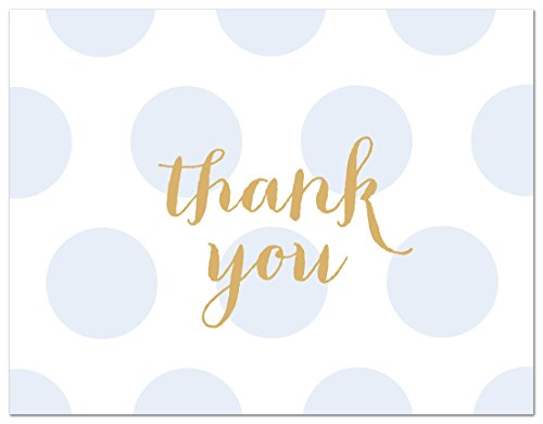 50 Cnt Polka Dots Gold Baby Shower Thank You Cards (Blue)