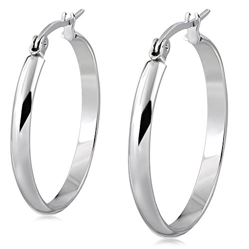 Stainless Steel Silver-Tone Classic Round Hoop Earrings, 2