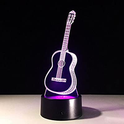 Guitar LED Night Light Color Changing with Touch Switch, Staron USB LED Night Lamp 3D Ukulele Guitar Christmas Gift for Kids Bedroom Home Decor