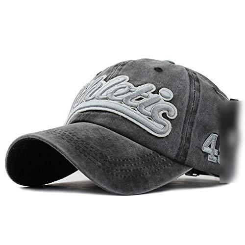 ウォッシュデニム 野球帽 秋夏帽子 男性用女性 帽子カセット帽子レター刺繍,ブラック,調節可能な