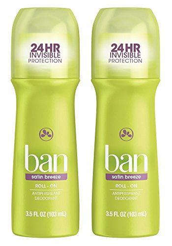 Ban Roll-On Antiperspirant Deodorant, Satin Breeze, 3.5oz (Pack of 2)