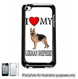 German Shepherd I Love My Dog Photo Apple iPod 4 Touch Hard Case Cover Shell Black 4th Generation