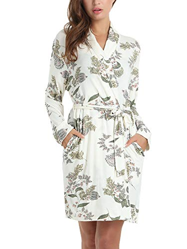 (Amorbella Womens Soft Bamboo Bathrobe Loungewear Robe with Pockets(Maple Leaf,Small) )