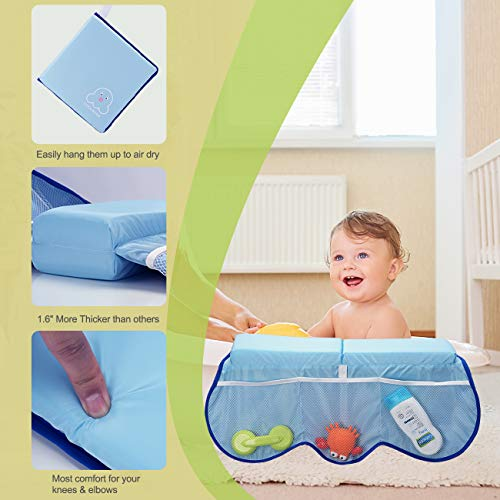 41odQpkO7CL - COOLBEBE Bath Kneeler And Elbow Rest Set With Octopus Pattern – Extra Thick Baby Bath Kneeling Pad Mat Cushion With Arm Support And Pockets Organizer